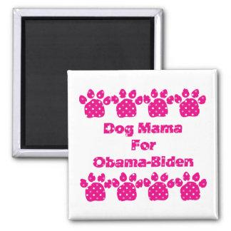 Imanes de mamá For Obama Pink Dots del perro Imán Cuadrado