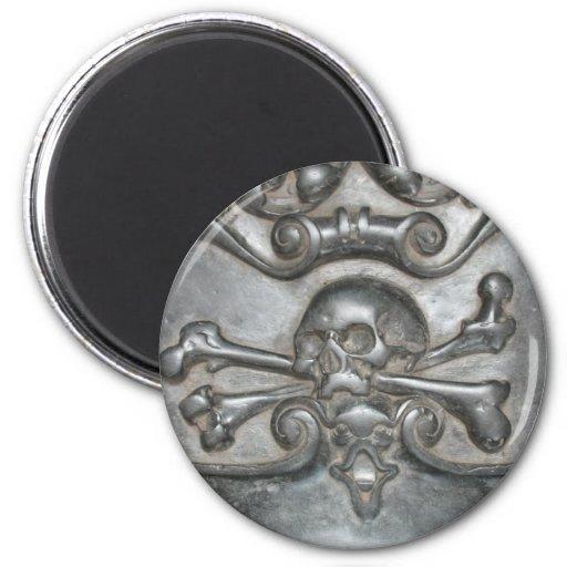 Imanes de mármol negros del cráneo y del imán redondo 5 cm
