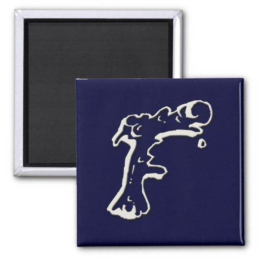 Imanes de papel de tarjetas del monograma del Snot Imán Cuadrado