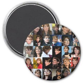 Imanes del collage de Sarah Palin Imán Redondo 7 Cm
