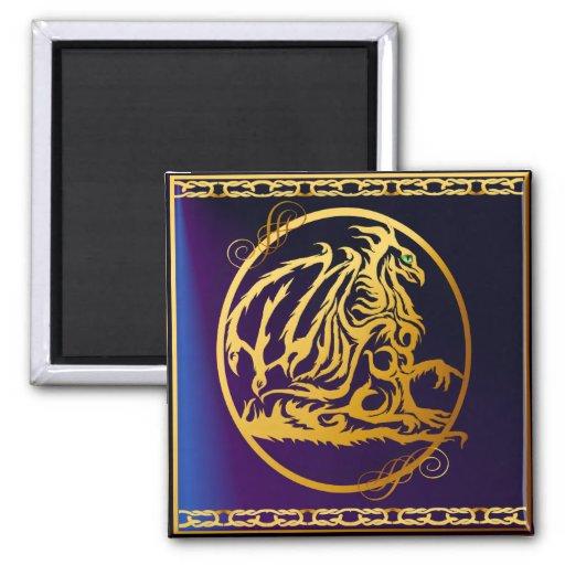 Imanes del dragón 1 del oro iman para frigorífico