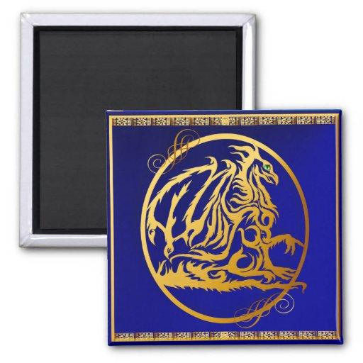 Imanes del dragón 2 del oro imán cuadrado