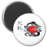Imanes del dragón del fuego de la bandera de Japón Imanes Para Frigoríficos