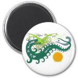 Imanes del dragón del mar profundo (verde) imán de nevera