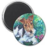 Imanes del fox terrier del alambre imanes de nevera