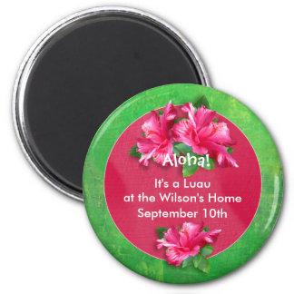 Imanes del hibisco del rosa de la hawaiana de Luau Imán Redondo 5 Cm