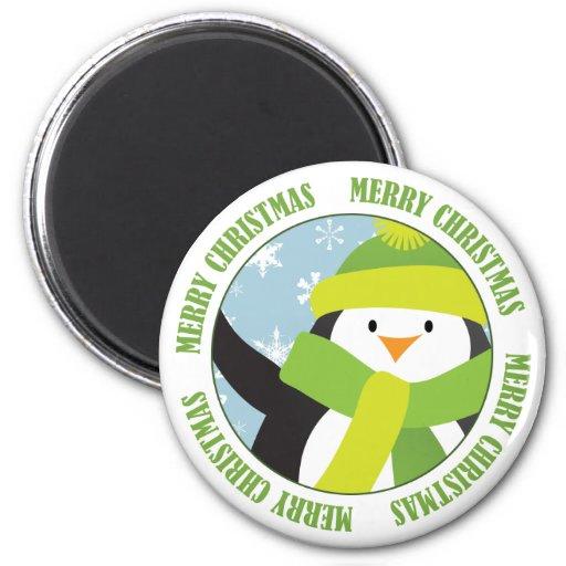 Imanes del pingüino de las Felices Navidad Imán Redondo 5 Cm