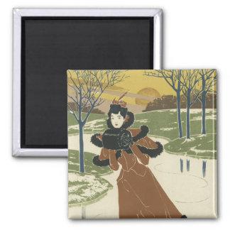 Imanes del poster de Nouveau del arte - invierno Imán Cuadrado