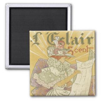 Imanes del poster de Nouveau del arte - L'Clair Imán Cuadrado