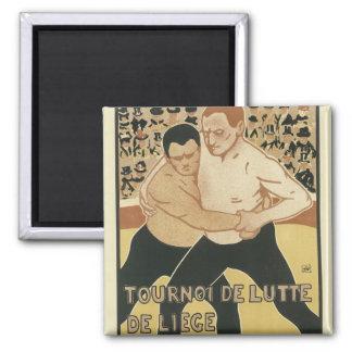 Imanes del poster de Nouveau del arte - luchando Imán Cuadrado