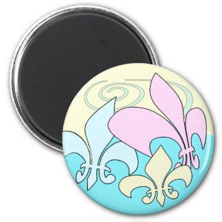 Imanes en colores pastel de la flor de lis de la imán redondo 5 cm