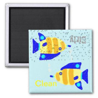 Imanes limpios sucios del lavaplatos - pescados imán cuadrado