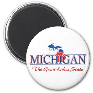 Imanes patrióticos de Michigan Imán Redondo 5 Cm