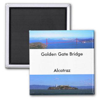 Imanes - puente Golden Gate y Alcatraz Imán Cuadrado