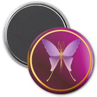 Imanes púrpuras grandes de una mariposa imán redondo 7 cm