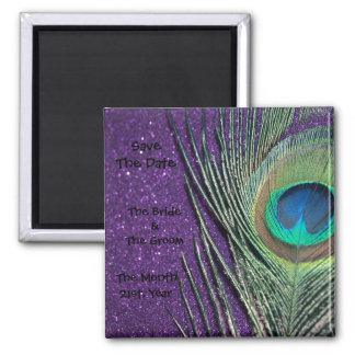 Imanes púrpuras relucientes del boda del pavo real imán cuadrado