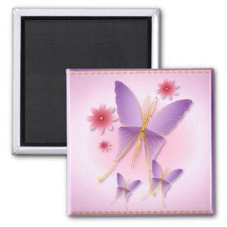 Imanes púrpuras suaves de la mariposa imán cuadrado