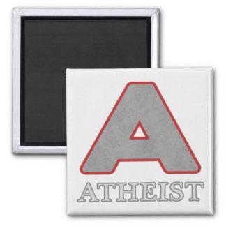 """Imanes rojos y grises del ateo """"A"""" Imán Cuadrado"""