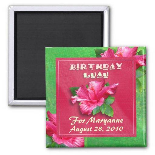 Imanes rosados de Luau del cumpleaños del hibisco Iman