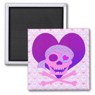 Imanes rosados del corazón del cráneo del pirata imán cuadrado