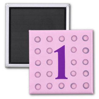Imanes rosados y púrpuras acodados de la edad 1 de imán cuadrado