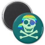 Imanes verdes del cráneo del pirata imán para frigorífico