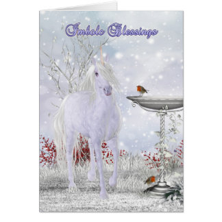 Imbolc Blessings Greeting Card With Unicorn