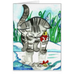 Imbolc Blessings Little Snow Cat Greeting Card