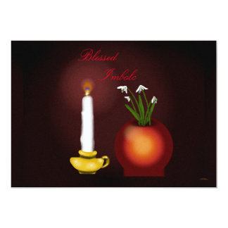 Imbolc Imbolg Candle and Snowdrops Brid Brighid Card