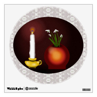 Imbolc Imbolg Candle and Snowdrops Brid Brighid Room Decal