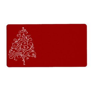 White Christmas Tree on Red Shipping Label