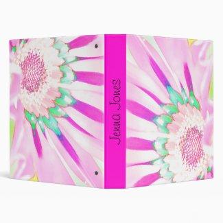 Pink Flower Binder