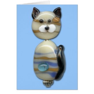 Blue Brown Glass Bead Cat
