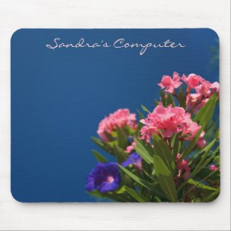 Blue and Pink Floral Mousepad