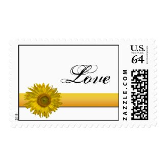 Sunflower Ribbon Love Wedding Postage Stamp