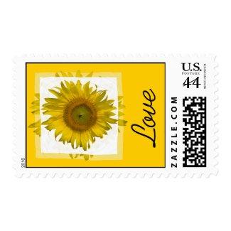 Yellow Sunflower Love Wedding Postage Stamp