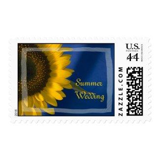 Sunflower on Blue Summer Wedding Postage Stamp