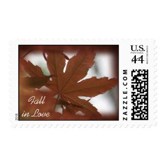 Fall in Love Japanese Maple Wedding Postage Stamp
