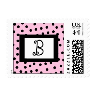 Pink and Black Monogram Postage Stamps