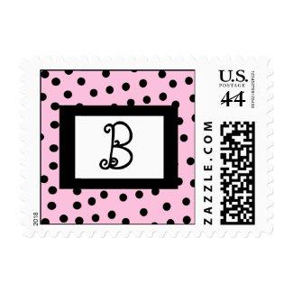 Pink and Black Monogram Postage Stamps
