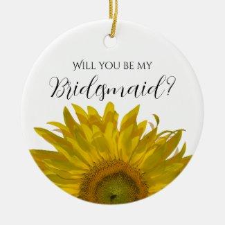 Yellow Sunflower Be My Bridesmaid? Ornament
