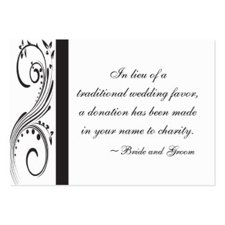 Black and White Wedding Charity Favor Card