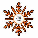 Christmas Tree Ornament Snowflake 1 Orange  White