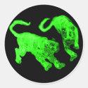 Xian China 2002 Green Ghost Tigers Black Circle Tr