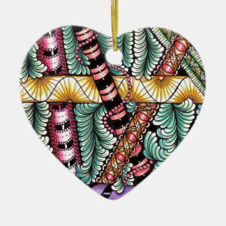img001 zen-doodled rods Double-Sided heart ceramic christmas ornament
