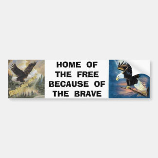 img, 22 eagle, HOME  OF  THE  FREEBECAUSE  OF  ... Bumper Sticker