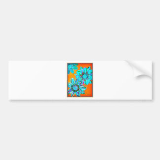 IMG_3085-0.jpgbright teal colored floral Bumper Sticker