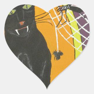 IMG_4104.JPG Black Cat In A Hat Heart Sticker
