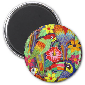 IMG_5319 Birds of Panama Mola 2 Inch Round Magnet