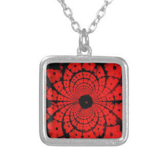 IMG_6864 Red abstract on black background Custom Necklace
